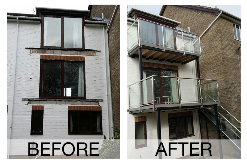 Stainless Steel Balconies before and after